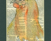 Chicken, original ink and watercolor painting on vintage dictionary page, 5 by 7 matted painting
