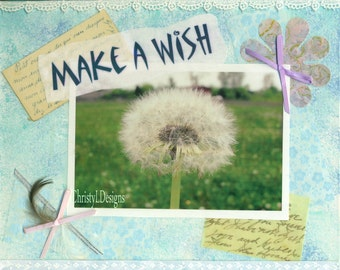 Make a Wish, Mixed Media, 8 by 10, original, ChristyLDesigns