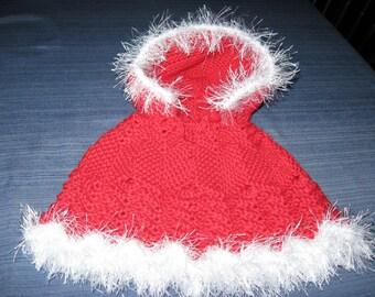 Red Baby Poncho Crochet Fur Trim With Hoodf