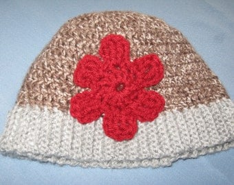 Crochet Hat With Ribbed Brim & Flower Adult