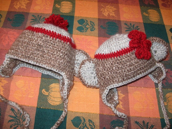 reserved for Jamie Carson    His or Her Sock Monkey Hats