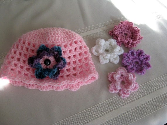Infant Girl Crochet Hat with Flowers