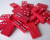 28 Vintage Red Wood Dominoes with Clover and Flower pattern