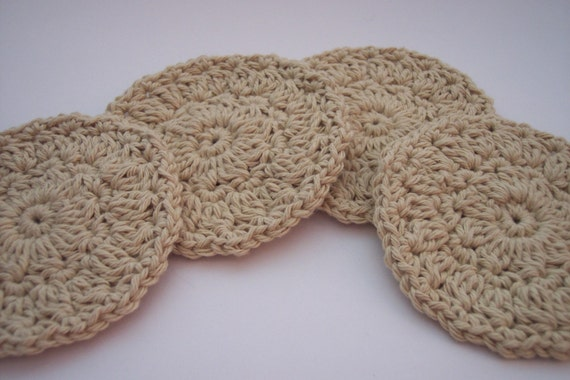 4 Cotton Coasters in Sand - Handmade, Hand Crocheted