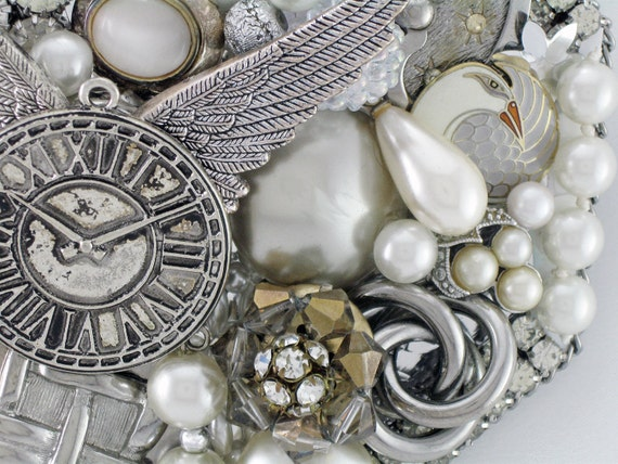 Hand Mirror - Recycled Time Takes Wing - Repurposed Jewelry - M000726