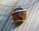 Burnt Sienna Swirl Hoop Necklace