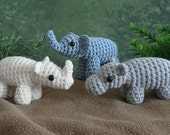PDF Special Deal - AfricAmi Set 1 - Elephant, Hippo, Rhino amigurumi CROCHET PATTERNS