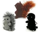 PDF Squirrel, Hedgehog, Mole amigurumi CROCHET PATTERNS - Mini Fuzzies Woodland Creatures