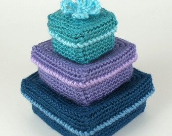 PDF Gift Boxes CROCHET PATTERN (set of 3 square nesting boxes)