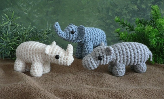 Special Deal - AfricAmi Set 1 - Elephant, Hippo, Rhino amigurumi PDF CROCHET PATTERNS