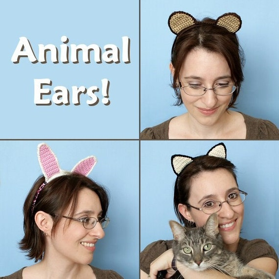 PDF Animal Ears CROCHET PATTERN (for hairbands and hats)