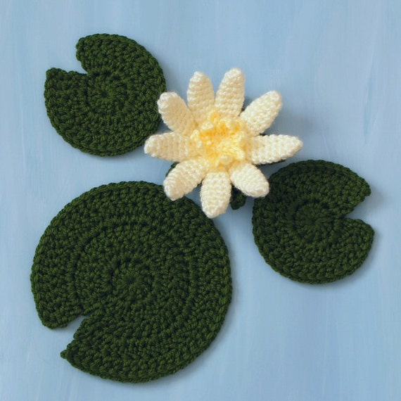 PDF Water Lily flower and leaves CROCHET PATTERN