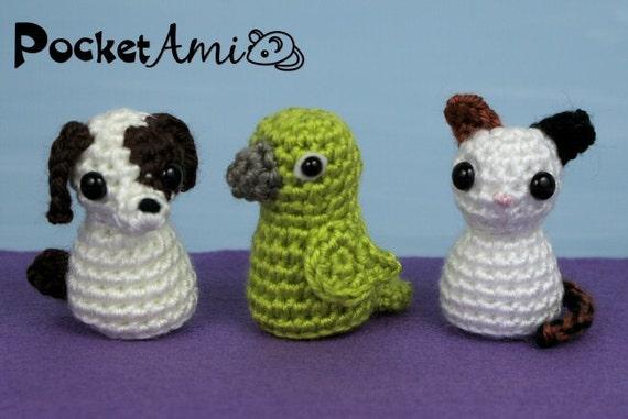 PDF Pets - Puppy Kitten Parrot - amigurumi CROCHET PATTERNS - PocketAmi Set 6