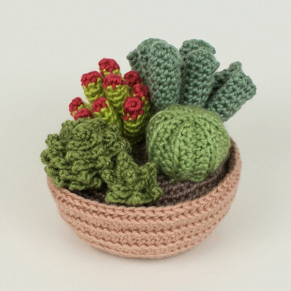 PDF Succulent Collection 1, four realistic CROCHET PATTERNS