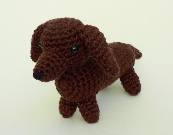 Knitting Patterns For Sausage Dogs : AmiDogs Dachshund amigurumi dog CROCHET PATTERN by PlanetJune