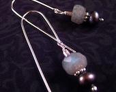 SALE - Cloudburst Earrings - Sterling Silver with Dark Gray Freshwater Pearls and Labradorite Gemstones