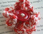 Recycled Yarn and Red Button Brooch