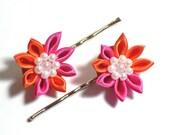 Pink and Orange Kanzashi -- Set of Two Hair Pins