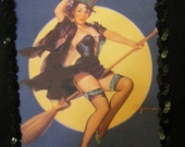 Be-Witching pin up glamour girl tote bag for Hall-o-ween