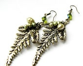 Mossy Fern - Stamped Fernleaf and Freshwater Pearl Earrings in Antiqued Brass