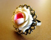 Vintage Rose - Antiqued Brass Filigree and Vintage Rose Ring - CLEARANCE