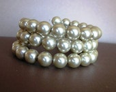 Simply Champagne Glass Pearl Wrap Bracelet in Champagne Beige, Bridal Jewelry - CLEARANCE