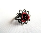 Victorian Rose - Adjustable Costume Ring in Red and Antiqued Brass - CLEARANCE
