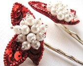 Rockin Holiday - Glittering Red Sequin and Pearl Vintage Jewel Bobby Pin Set