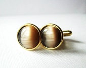 Champagne Mist - Gold Plated Cat's Eye Cufflinks For the Groom or Groomsman / Light Beige