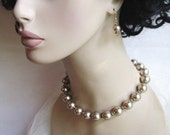 Simply Champagne - Bridal / Special Occasion Glass Pearl Necklace and Earring Set - CLEARANCE