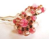 Vintage Rose Baubles - Vintage Pink Glass Hair Pin Set