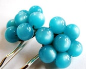 Raspberry Ice - Vintage Aqua Blue Bauble Hair Pins - CLEARANCE