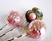 Subtle Color - Pink and Gray Vintage Jewel Hair Pin Set for Weddings / Special Occasions