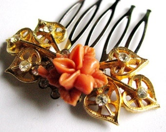 Roses and Leaves - Romantic Vintage Jewel Rose Hair Comb, bridal comb in Gold and Coral