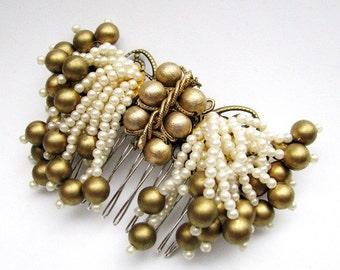 Antiqued Pearl - Matte Gold and Pearl Beaded Fringe Bridal Hair Comb, Nostalgic Glamour -CLEARANCE