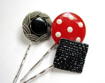 Rockabilly Glam No.3 - Vintage Red Polka Dot and Black Enamel Bobby Pins