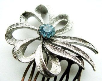 Something Blue No.62 - Vintage Textured Ribbons, Centered with Aqua Blue
