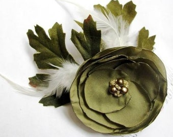 Olive and Cream - Freshwater Pearl, Feather and Fabric Flower Hair Comb - CLEARANCE