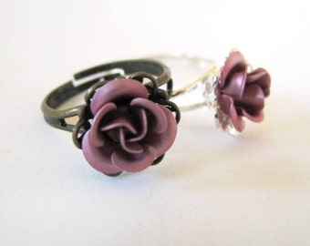 Victorian Rose - Costume Ring in Pink and Antiqued Brass of Silver - Gift idea for Office Mates, Secret Santa, Stocking Stuffers