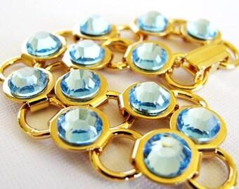 Aqua Rhinestone - 7.5 inch Swarovski Rhinestone Gold Plated Link Bracelet, Custom Colors Available