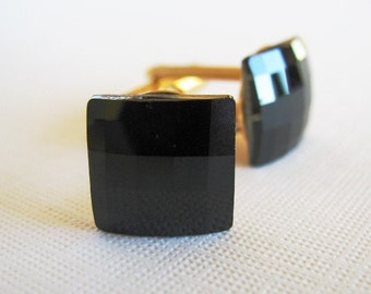 Jet Black Swarovski Chessboard Cufflinks - For the Groom or Special Occasion - Gold Plated Finish