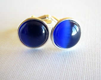 Sapphire Blue - Silver Plated Cufflinks for the Groom or Groomsman with Royal Blue Cat Eye Glass