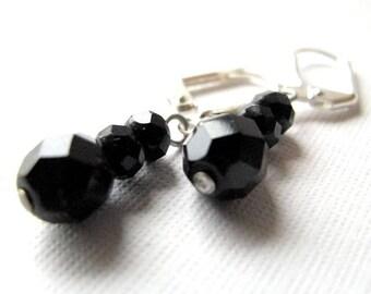 Simple Black  - Jet Dangle Earrings in Czech Glass, bridal party