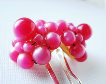 Baublicious - Delicious Raspberry Pink Bauble Hair Pin Set - For Summer, Prom, Bridesmaids