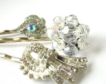 Nostalgic Wedding No.35 - Vintage Art Deco Rhinestone Hair Pin Collection for the Bride or Special Occasion, Crystal OOAK Hair Pins