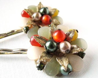 Leaves and Beads - Ornate Vintage Flower Hair Pin Set in Deep Orange and Olive Green -CLEARANCE