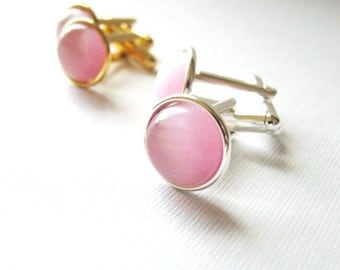Soft Pink  - Silver Plated Cufflinks For the Groom or Groomsman/ Prom with Pink Catseye Glass