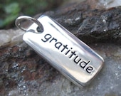 Gratitude Necklace Charm Sterling Silver - Grateful Necklace