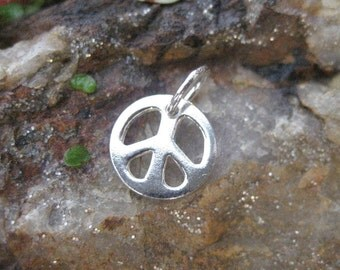 Peace Sign Charm - Sterling Silver - Tiny Peace Symbol