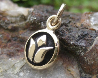 Small Lotus Charm - Gold Tone Bronze